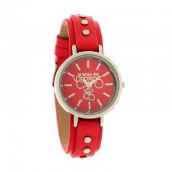 Montre LTC ref TCA08, cad rouge, brac cuir rouge