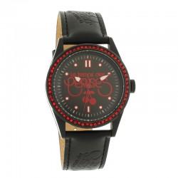 Montre LTC ref TCA10, cad noir-rouge, brac cuir noir