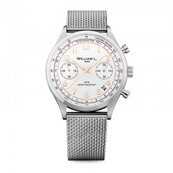 Montre William L ref 01, cad blanc, brac m'tal mesh