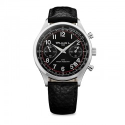 Montre William L ref 01, cad noir, brac cuir noir