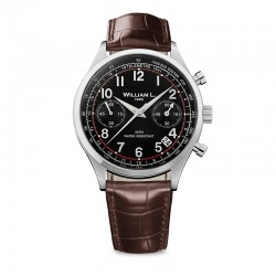 Montre William L ref 01, cad noir, brac cuir marron croco