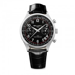 Montre William L ref 01, cad noir, brac cuir noir croco
