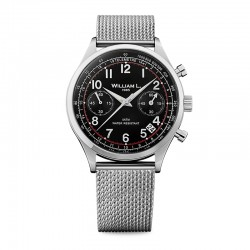 Montre William L ref 01, cad noir, metal mesh