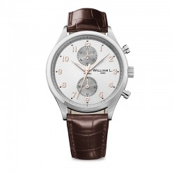 Montre William L ref 02, cad blanc, brac cuir marron croco