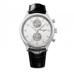 Montre William L ref 02, cad blanc, brac cuir noir croco