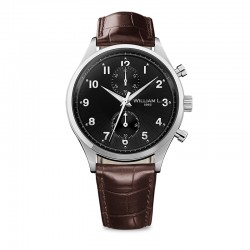 Montre William L ref 02, cad noir, brac cuir marron croco