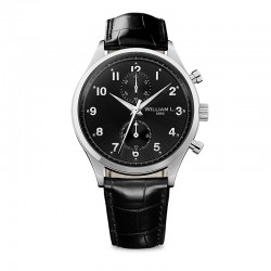 Montre William L ref 02, cad noir, brac cuir noir croco