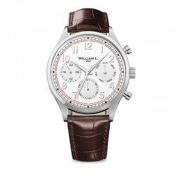 Montre William L ref 03, cad blanc , brac cuir marron croco
