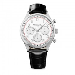 Montre William L ref 03, cad blanc , brac cuir noir croco