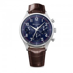 Montre William L ref 03, cad bleu , brac cuir marron croco