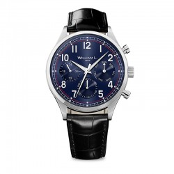 Montre William L ref 03, cad bleu , brac cuir noir croco