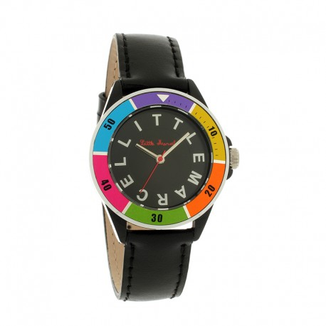 Montre LITTLE MARCEL ref LM22 small, cad multico, brac cuir noir