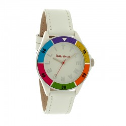 Montre LITTLE MARCEL ref LM22 small, cad multico, brac cuir blanc