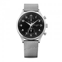 Montre William L ref 02, cad noir, brac m'tal mesh