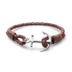Bracelet Tom Hope Cuir Style, marron clair Taille M