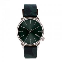 Montre KOMONO ref 2169, cad vert, brac cuir vert et noir