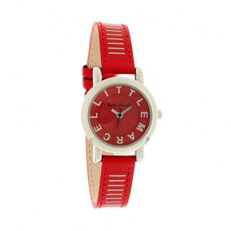 Montre LITTLE MARCEL ref 05, cad rouge, brac cuir rouge
