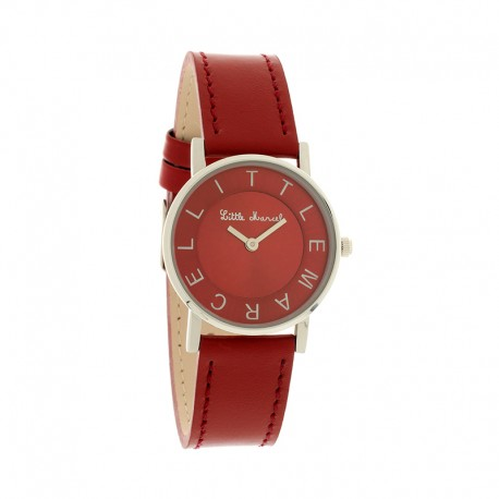 Montre LITTLE MARCEL ref LM48, cad rouge, brac cuir rouge