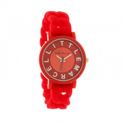 Montre LITTLE MARCEL ref LM49, cad rouge, brac silicone rouge