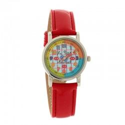 Montre PETIT MARCEL ref LMP08, cad multicolor, brac rouge