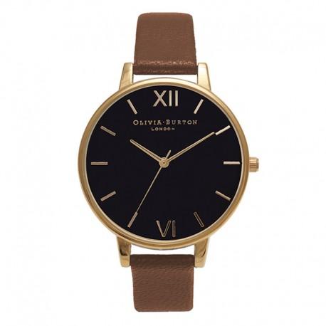 Montre O Burton OB15BD67, cad noir, brac cuir