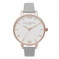 Montre O Burton OB15BDW02, cad blanc, brac cuir
