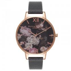 Montre O Burton OB15WG12, cad motif fleur, brac cuir