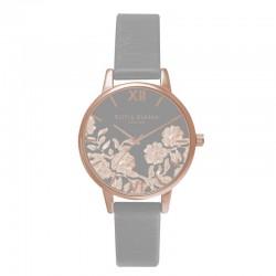 Montre O Burton OB16MV58, cad gris-fleurs, brac cuir gris