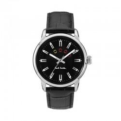 Montre P. Smith ref P10021, BLOCK,cad noir, brac cuir noir
