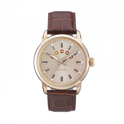 Montre P. Smith ref P10023, BLOCK,cad beige, brac cuir brun