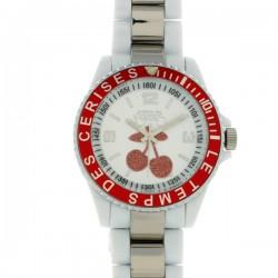 Montre L T CERISES, 05, cad rouge, brac r'sine blanc et metal