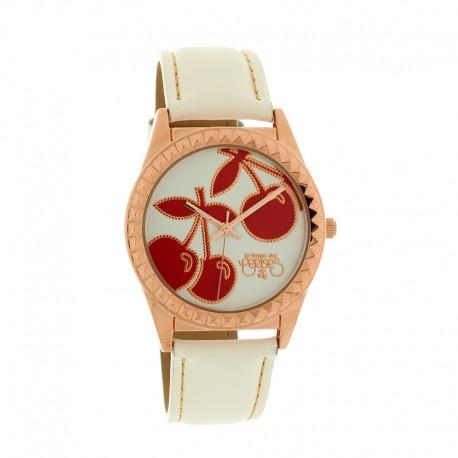 Montre LTC ref TC43 rosegold, cad blanc, brac cuir blanc