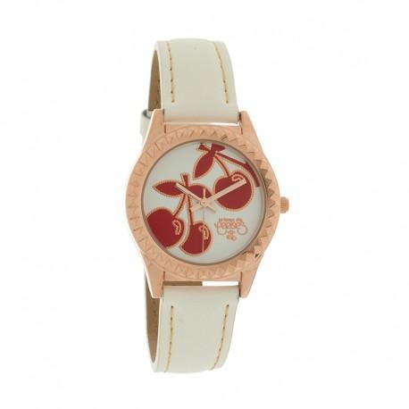 Montre LTC ref TC43 rosegold small, cad blanc, brac cuir blanc