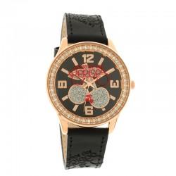 Montre LTC ref TC46, cad noir-RG, brac cuir noir