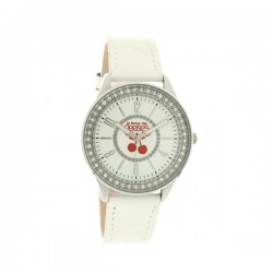 Montre LTC ref TC46, cad blanc, brac cuir blanc