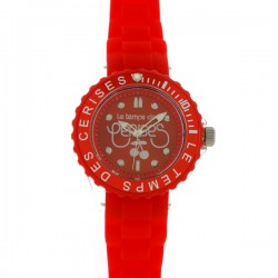 Montre LTC ref TC57, cad rouge, brac silicone rouge