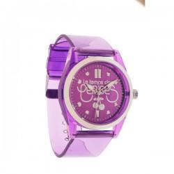 Montre LTC ref TC62, cad violet, brac plastic transparent violet 5ATM