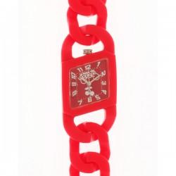Montre LTC ref TC89, cad rouge, brac r'sine rouge