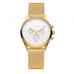 Montre Tayroc Homme ref TY35, cad blanc, brac métal gold