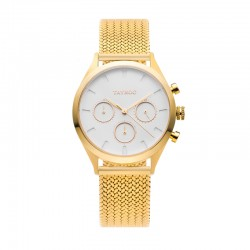 Montre Tayroc Femme ref TY51, cad blanc, brac métal doré