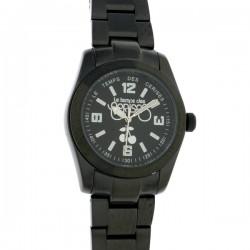 Montre L T CERISES, 01, cad noir, brac metal noir