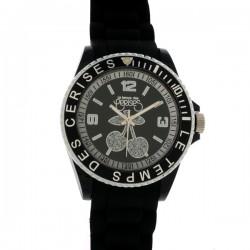 Montre LTC ref TC16, cad noir, brac caoutchouc noir