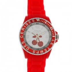 Montre LTC ref TC16, cad blanc & rouge, brac caoutchouc rouge