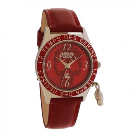 Montre LTC ref TC36 skulls, cad rouge, brac cuir rouge