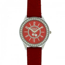 Montre LTC ref TC46, cad rouge, brac cuir rouge