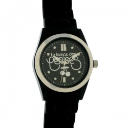 Montre LTC ref TC50, cad noir, brac silicone noir