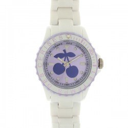 Montre LTC ref TC51, cad violet, brac r'sine blanc