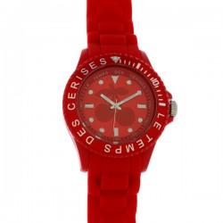 Montre LTC, ref 53, cad rouge, brac silicone rouge, 5ATM