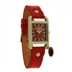 Montre LTC ref TC64, cad rouge, brac cuir rouge