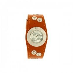 Montre LTC ref TC75, cad silver brac cuir marron